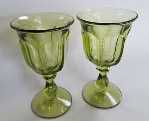 IMPERIAL crystal 0LD WILLIAMSBURG Green pattern Water Goblets set of 2!, 6-1/2""
