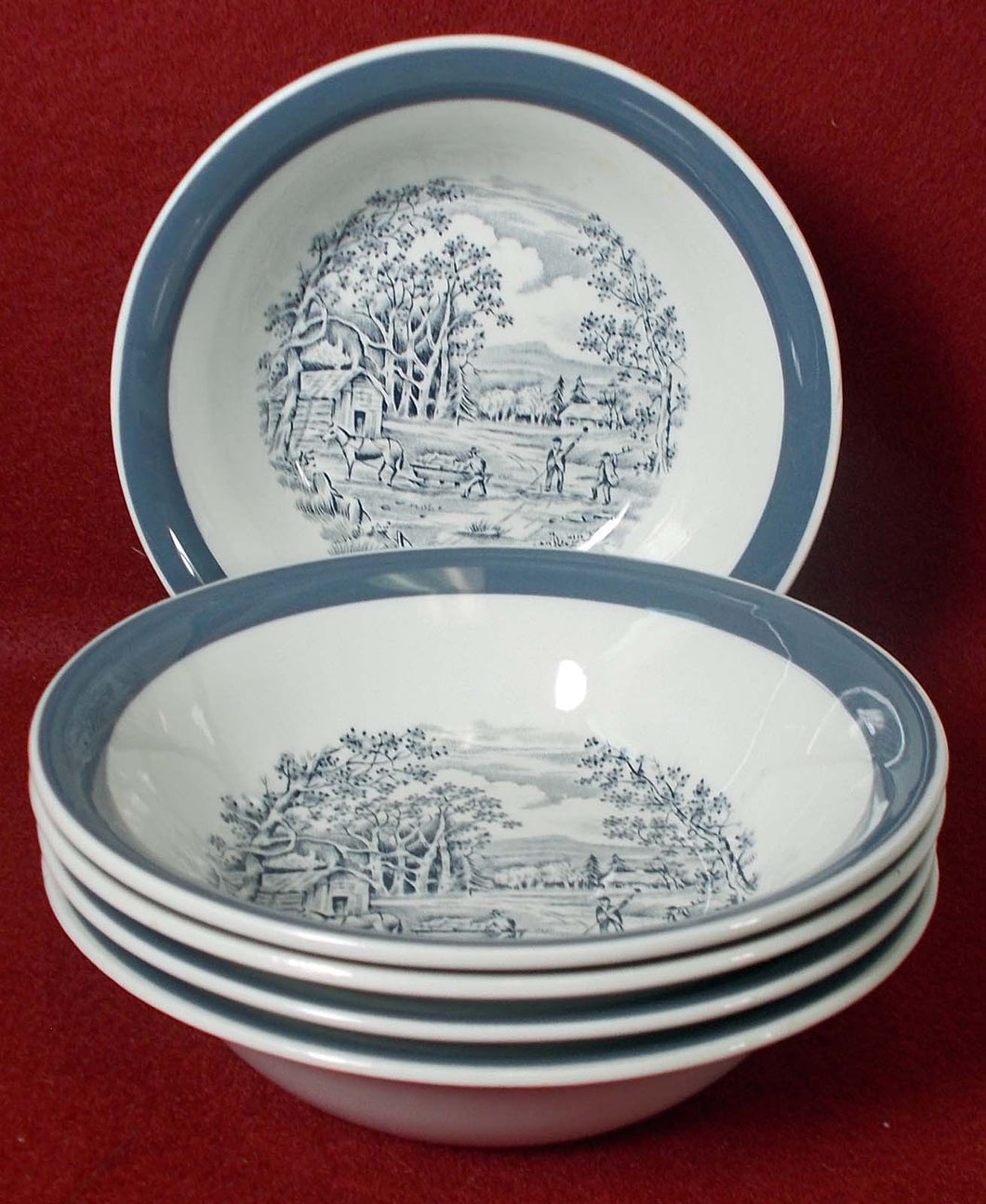 MEAKIN, ALFRED china HOME IN THE COUNTRY Set of 5 FRUIT or Dessert BowlS 5-3/8