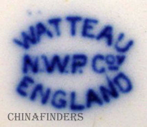 NEW WHARF pottery WATTEAU flow blue LUNCHEON PLATE