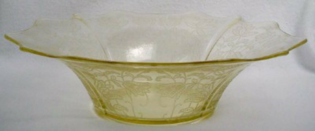 CAMBRIDGE crystal BRETTONE 747 Large FLARED Yellow Floral Bowl - 13