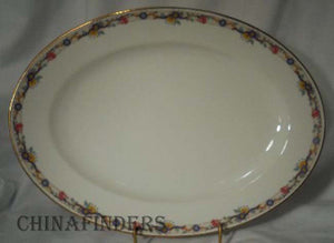 "AHRENFELDT china AHR1 pattern Oval Meat Serving Platter @ 14"" - trim wear"