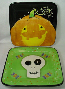 CERTIFIED INTERNATIONAL Corp China PUMPKIN & SKULL pattern LUNCHEON PLATE Pair