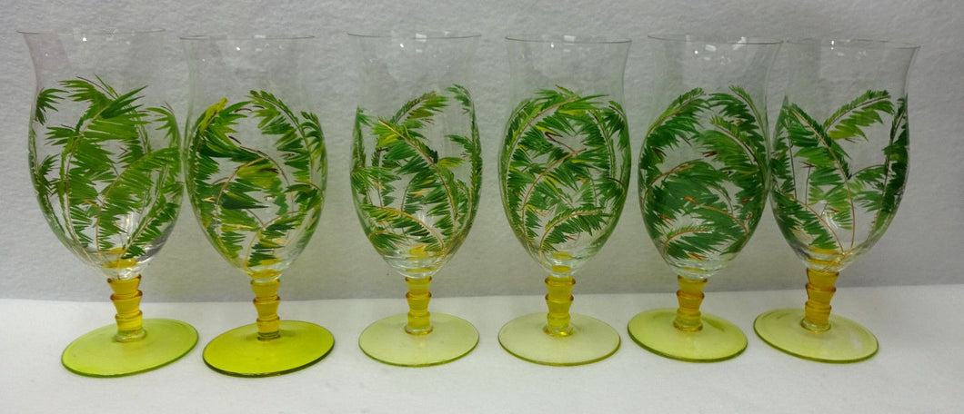 PALM LEAVES - Six (6) 20-oz Yellow Footed Hurricane or Iced Tea Glasses - 8-1/4