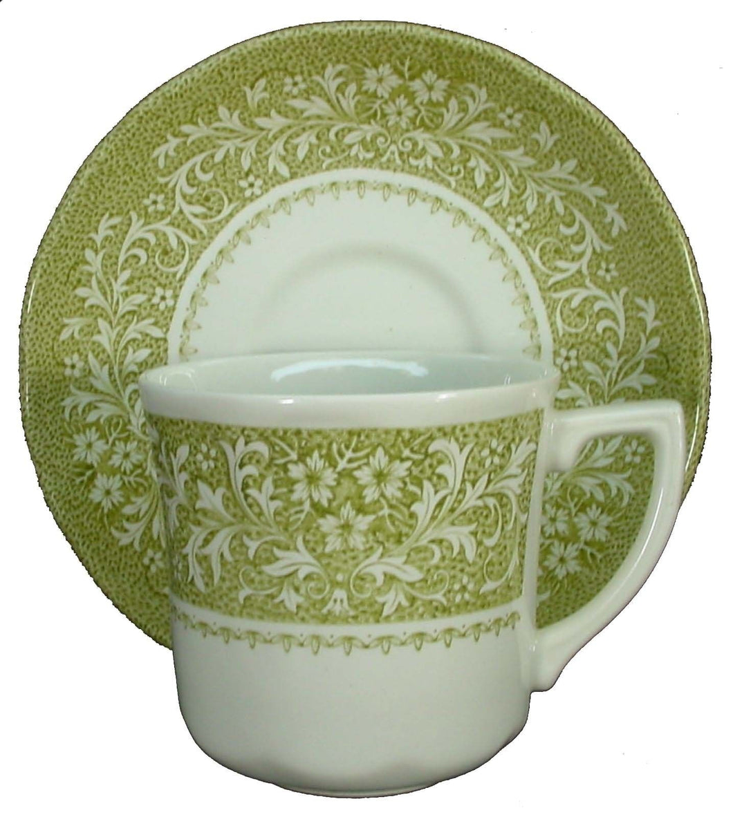 J&G MEAKIN china Sherwood Green CUP & SAUCER Set 3