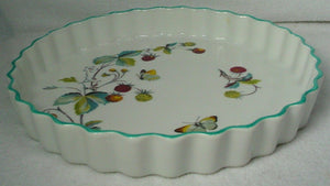 "ROYAL WORCESTER china STRAWBERRY FAIR oven-to-table QUICHE 10"" blue trim"