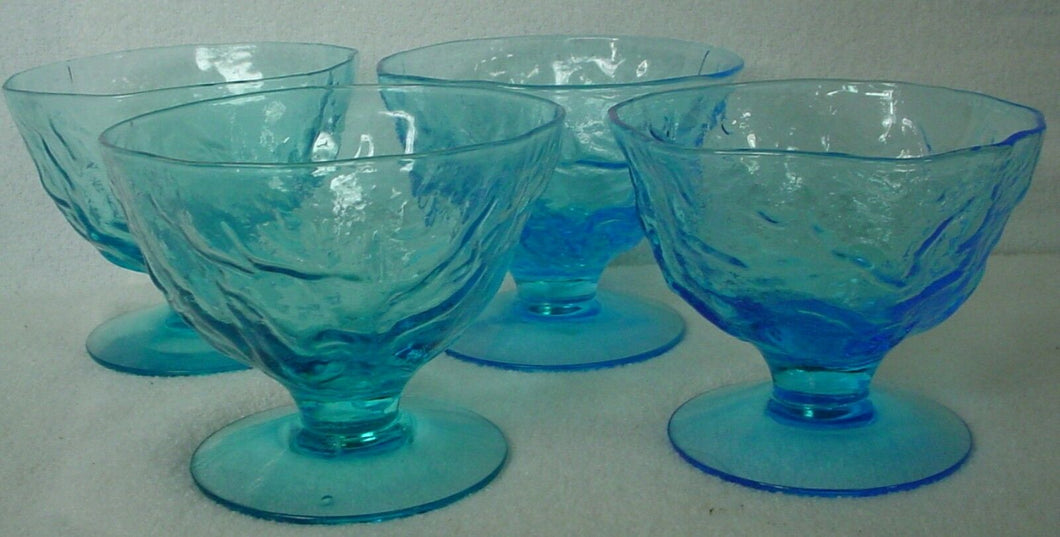 SENECA crystal DRIFTWOOD Peacock Blue SHERBET CHAMPAGNE - Set of Four (4) @ 3