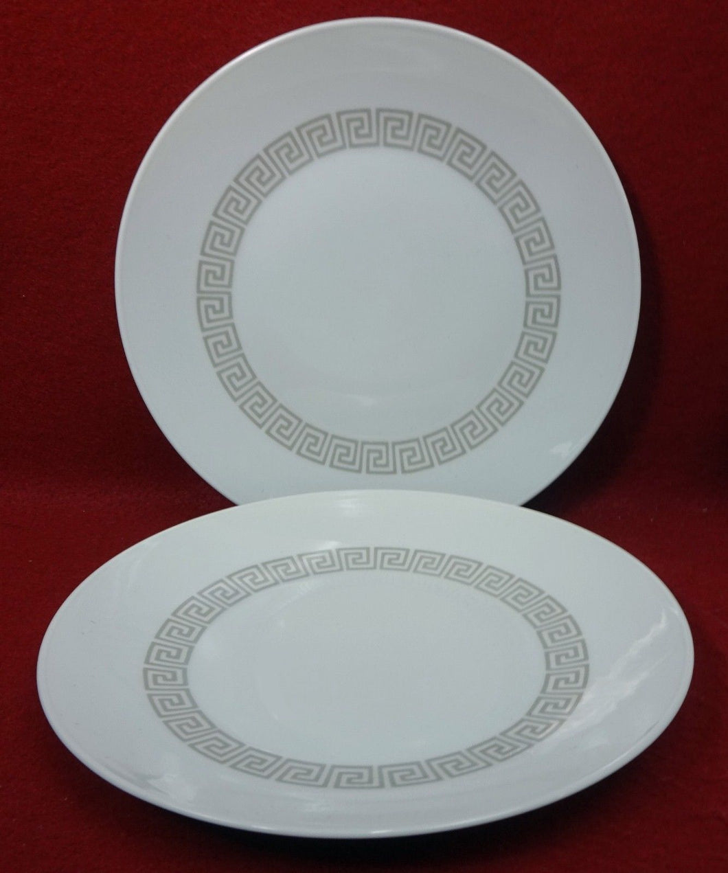 ROSENTHAL china ATHENIA or GREEK KEY taupe SALAD PLATE - Set of Two (2) - 7-5/8