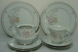 NORITAKE china EASTHAMPTON 3491 pattern 7-piece LOT salad bread cup saucer