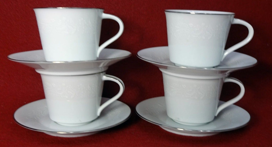 NORITAKE china REINA 6450Q Cup & Saucer - Set of Four (4) - 2-3/4