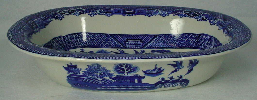 ADAMS china WILLOW BLUE pattern OVAL VEGETABLE Serving BOWL 8-1/2
