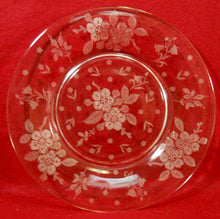DUNCAN & MILLER crystal LANGUAGE OF FLOWERS Set of 7 Luncheon Plates - 8-1/2""