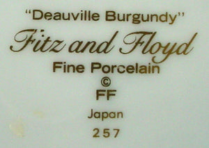 FITZ & FLOYD china DEAUVILLE BURGUNDY Cup & Saucer Set @ 2-1/8""