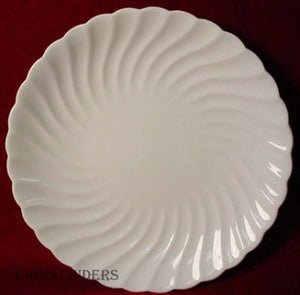 AYNSLEY china WHITE SWIRL COUPE CAKE PLATE