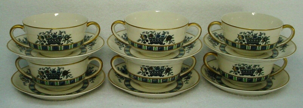 SYRACUSE china VIRGINIA pattern Set of Six (6) Bouillon Cups & Saucers