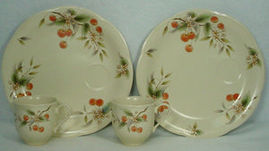 MIKASA china CHERRY BLOSSOMS EL001 pattern Set of 2 Snack Plates & Cups @ 9-3/4""