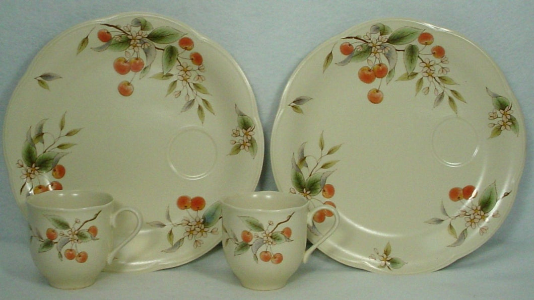 MIKASA china CHERRY BLOSSOMS EL001 pattern Set of 2 Snack Plates & Cups @ 9-3/4