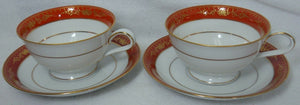 NORITAKE china GOLDHILL pattern 6613 Cup & Saucer - Set of Two (2) @ 2-1/4""