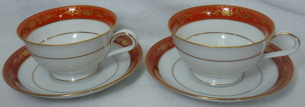 NORITAKE china GOLDHILL pattern 6613 Cup & Saucer - Set of Two (2) @ 2-1/4