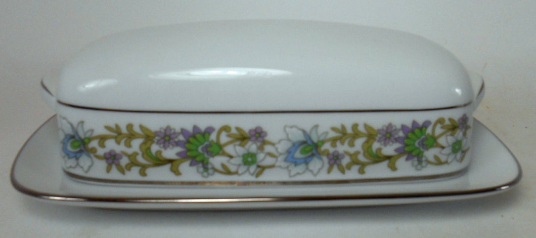 NORITAKE china TRADITION pattern #2356 Quarter Pound Butter Dish & Lid
