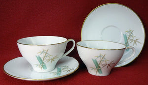 NORITAKE china ORIENTAL 6341 Set of Two (2) Cup & Saucer Sets - 2-1/2""