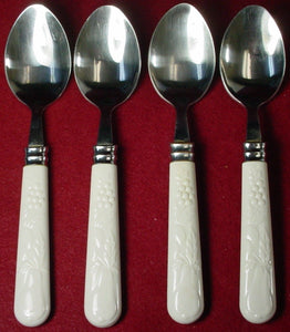"GIBSON flatware FRUIT ACCESSORIES pattern PLACE/OVAL SOUP SPOON 7-5/8"" set of 4"