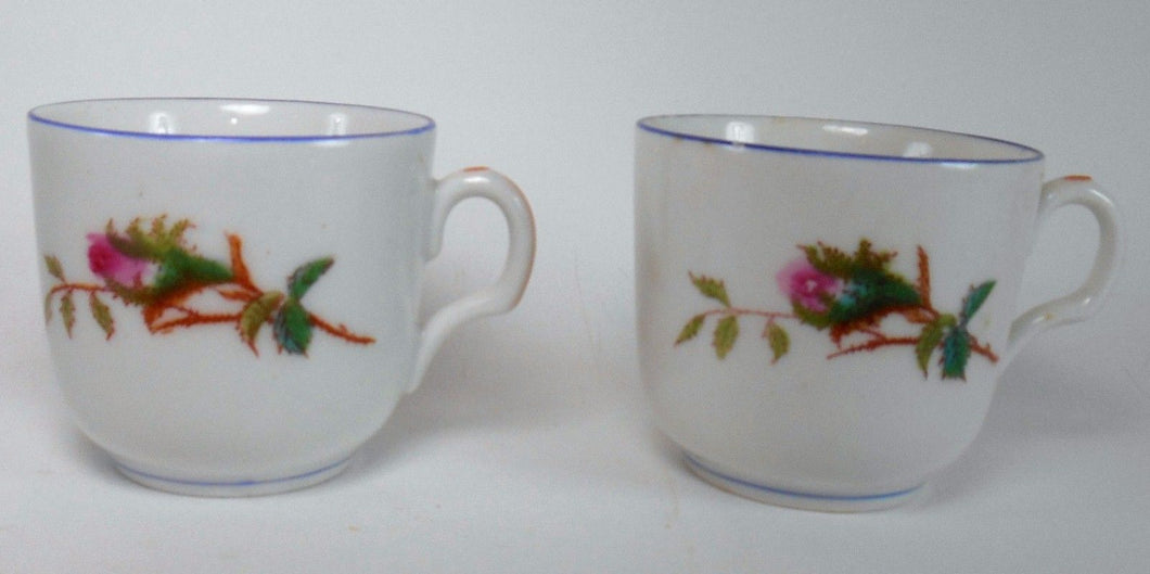 HAVILAND Limoges china MOSS ROSE Blue Trim - Set of Two (2) Cups - 2-5/8