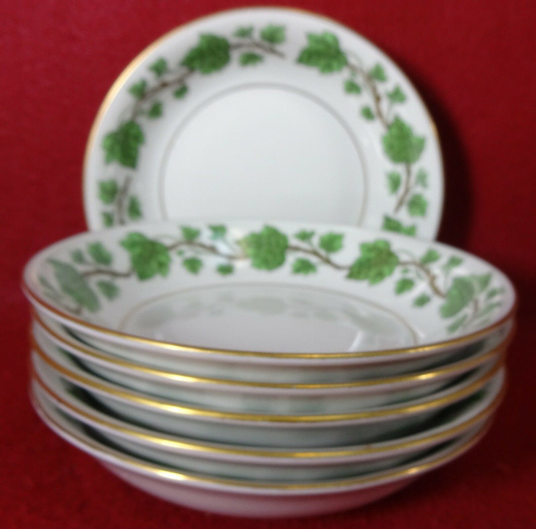 ROYAL JACKSON china EMERALD IVY pattern Six (6) Fruit Dessert Berry Bowls 5-3/8