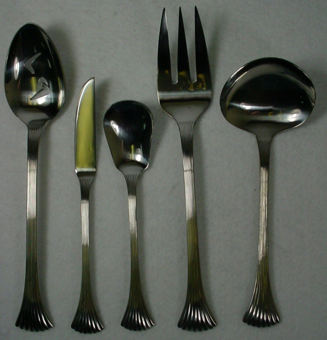 REED & BARTON silver BRETTON WOODS - SHELL stainless 5-pc HOSTESS SERVING SET