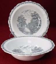 "OLD HALL china COUNTRY SIDE GRAY pattern CEREAL BOWL 6-5/8"" set of TWO crazing"