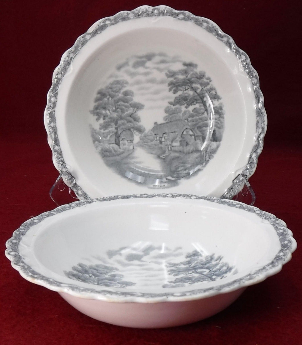 OLD HALL china COUNTRY SIDE GRAY pattern CEREAL BOWL 6-5/8