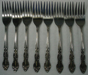 "HANFORD FORGE silver CHARLESTON CLASSIC pattern SALAD FORK 6-1/4"" set of EIGHT"
