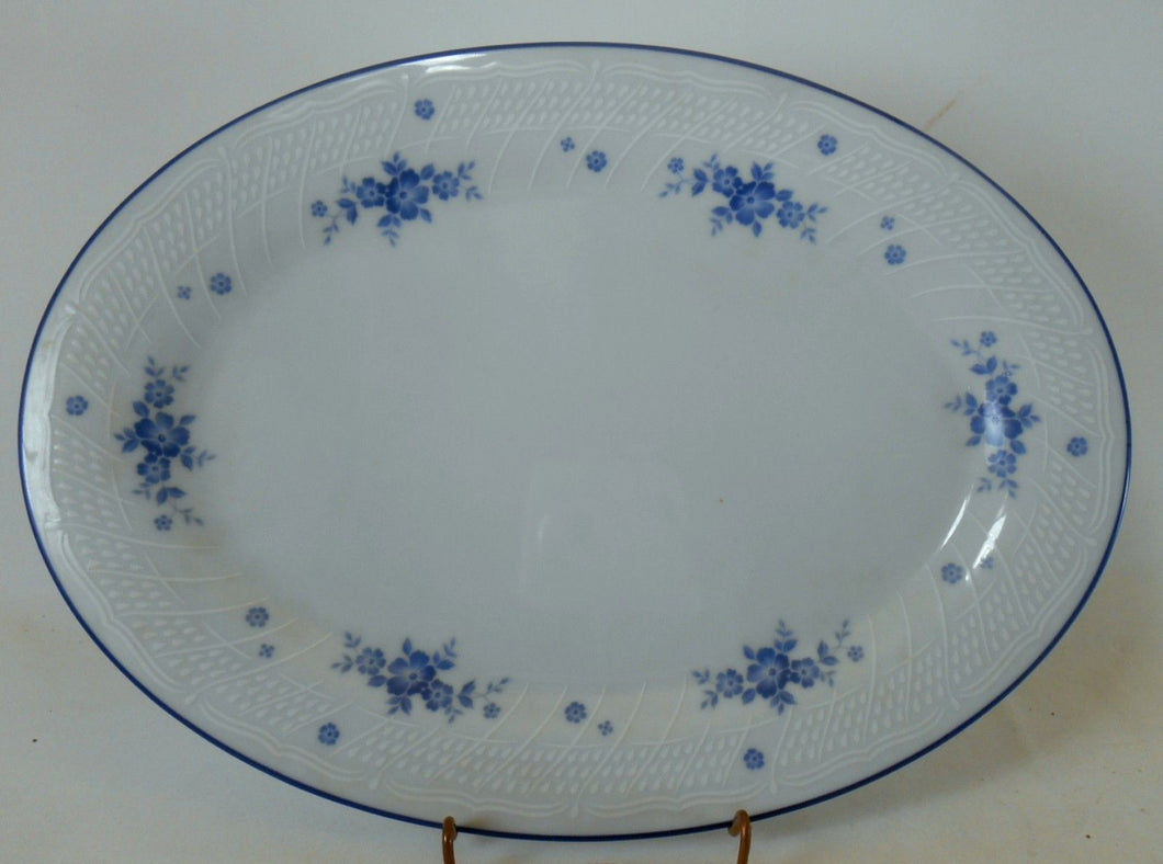 NORITAKE china #1379 pattern BLUE FLOWERS & TRIM Oval Serving Platter @ 12