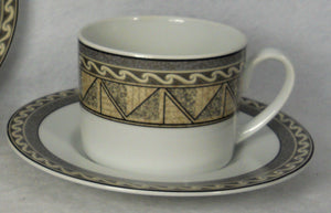STUDIO NOVA china COURTYARD Y0281 pattern Cup & Saucer - Set of Two (2) - 2-1/2""