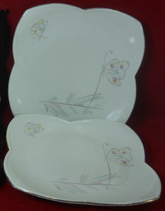 ALKA Bavaria china BUTTERFLY pattern Set of 2 Square Salad Dessert Plates 6-7/8""