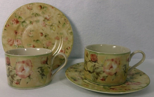 222 FIFTH (PTS International) china SAVANNAH pattern Set of Two (2) Cup & Saucer