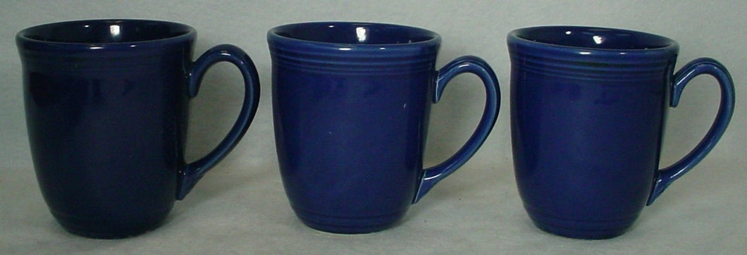 ONEIDA china PETALS COBALT (Blue Bell) pattern Set of Three (3) Mugs