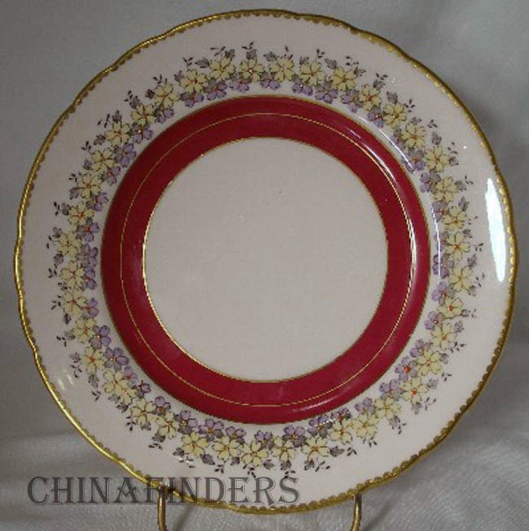 ROYAL TUSCAN china MAROON BAND Yellow Purple Flowers Salad Dessert Plate 8-1/8