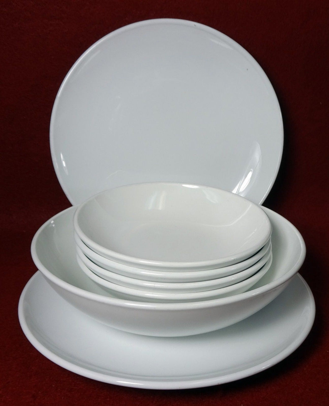 CORNING Pyroceram WHITE COUPE pattern 7-Piece Lot 2 bread 4 fruit 1 cereal bowl