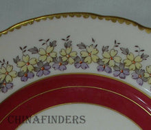 ROYAL TUSCAN china MAROON BAND Yellow Purple Flowers Salad Dessert Plate 8-1/8""