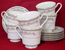 CHINA PEARL china IRENE 3846 pattern Set of Six (6) Cup & Saucer Sets