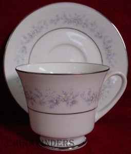 NORITAKE china MARYWOOD 2181 pattern Cup & Saucer - Set of Four (4) @ 3""
