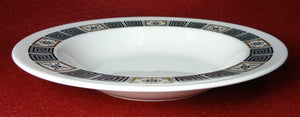 WEDGWOOD china ASIA BLACK pattern R4288 Rimmed Soup or Salad Bowl - 8""
