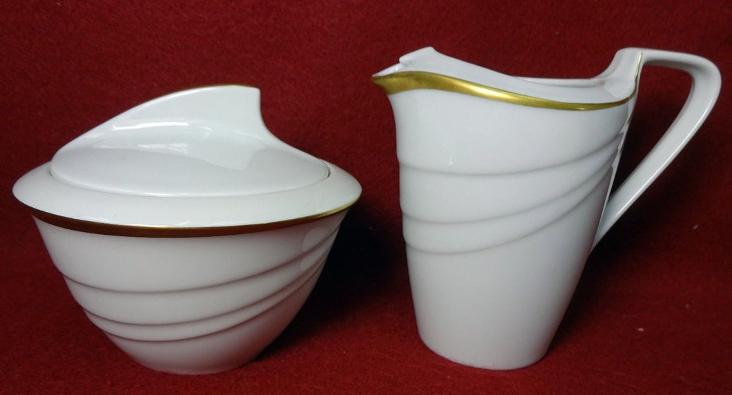 HUTSCHENREUTHER china MONDIAL pattern Creamer & Sugar Bowl with Lid SET