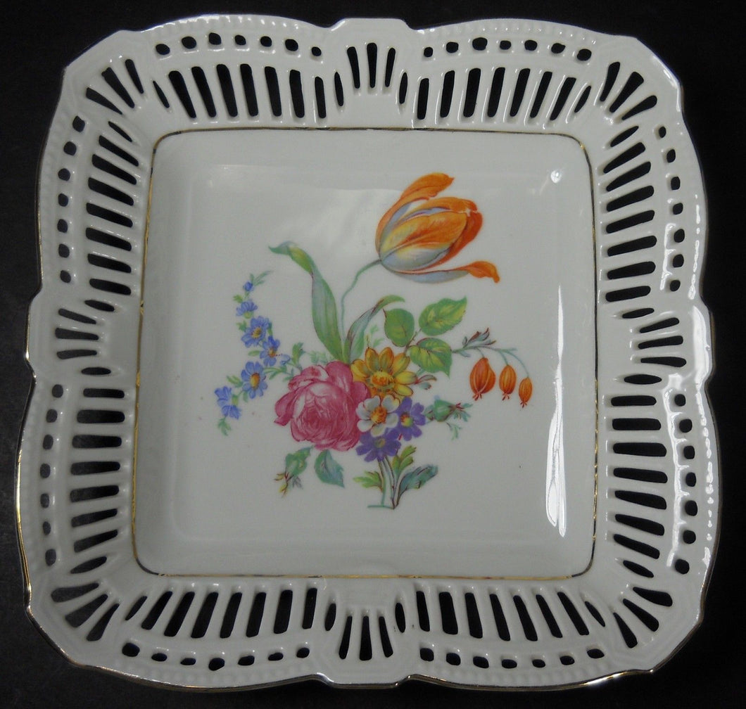 SCHWARZENHAMMER china SWH4 DRESDEN FLOWERS Square Serving Bowl @ 7-3/8