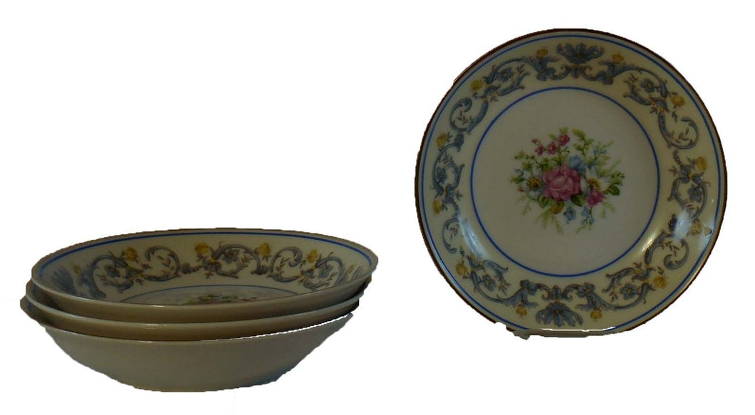 AHRENFELDT china SUZANNE pattern Set of Four (4) Fruit/Dessert Bowls 5-1/4