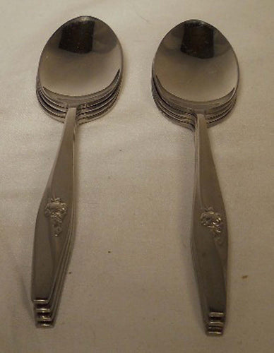GORHAM stainless flatware WAVE ROSE pattern Set of 8 Teaspoons Teaspoon 6 1/8