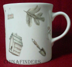 "PFALTZGRAFF china NATUREWOOD Set of Two (2) Mugs @ 3-7/8"" with Green Inside"
