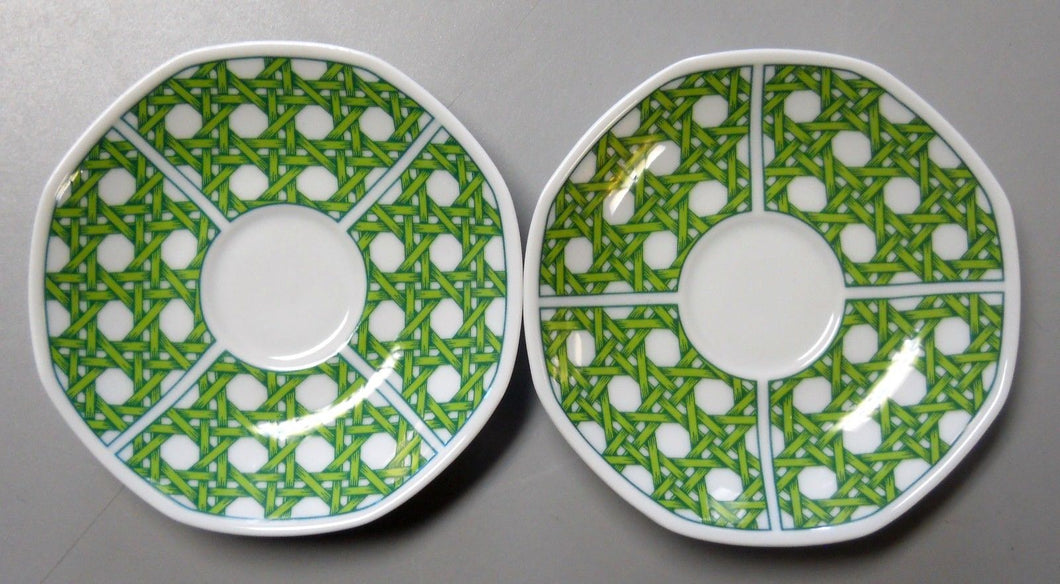 VILLEROY & BOCH china CARIBIC pattern Set of Two (2) Demitasse Saucers @ 4 1/2