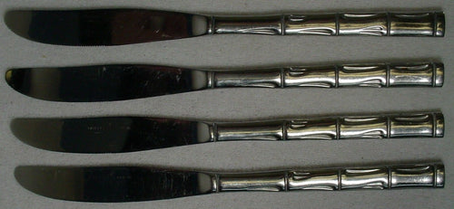 BARCLAY GENEVE silver BAMBOO bag12 stainless DINNER KNIFE set of FOUR (4) 8-5/8