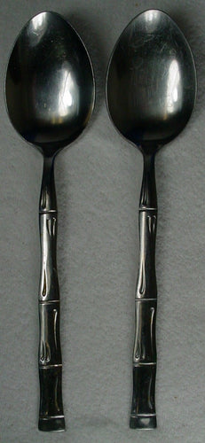 BARCLAY GENEVE silver BAMBOO bag12 stainless TABLESPOON serving spoon SET OF TWO